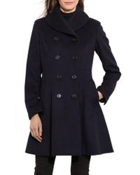 Lauren by Ralph Lauren | Blue Fit & Flare Military Coat | Lyst