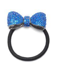 Tasha - Blue Crystal Bow Ponytail Holder - Lyst