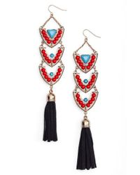 Adia Kibur - Red Stone & Tassel Drop Earrings - Lyst