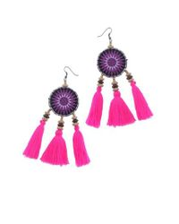 Nakamol - Purple Crochet Tassel Earrings - Lyst