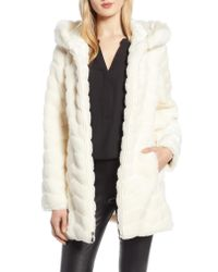 Gallery Natural Hooded Chevron Faux Fur Coat