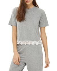 TOPSHOP - Gray Crochet Trim Pajama Top - Lyst