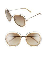 Chloé Metallic 'carlina' 56mm Gradient Sunglasses