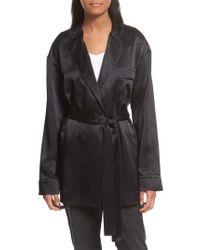 Robert Rodriguez - Black Silk Satin Robe Jacket - Lyst