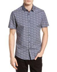Vince Camuto Blue Slim Fit Print Sport Shirt for men