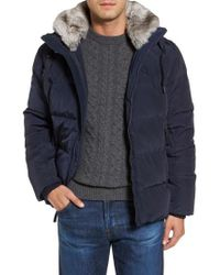 Marc New York - Blue Navan Quilted Down Jacket With Genuine Rabbit Fur Trim for Men - Lyst