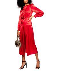 TOPSHOP Red Cutout Midi Dress