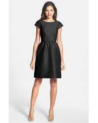 Alfred Sung - Black Woven Fit & Flare Dress - Lyst