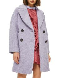 TOPSHOP | Gray Alicia Boucle Slouch Coat | Lyst