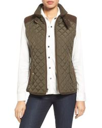 Gallery - Green Quilted Vest With Faux Suede Trim - Lyst