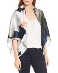 Ted Baker - Blue Chatsworth Bloom Silk Cape Scarf - Lyst