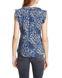 Rebecca Taylor Blue Ava Floral Silk & Cotton Sleeveless Blouse