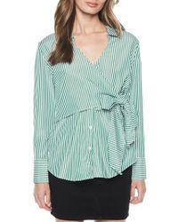 Bardot - Green Stripe Wrap Tie Shirt - Lyst