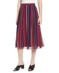 Anne Klein - Red Striped Midi Skirt - Lyst