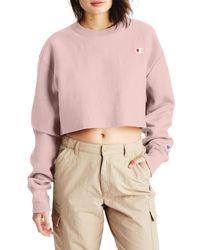 Champion Pink Crop Reverse Weave Sweatshirt