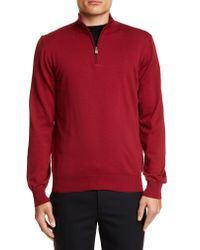 Canali Red Half Zip Cotton Sweater for men