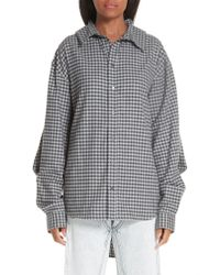 Y. Project Gray Double Front Gingham Blouse