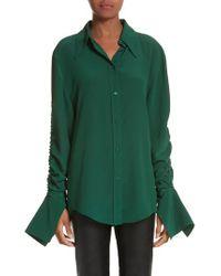 Stella McCartney - Green Ruched Flare Cuff Silk Shirt - Lyst