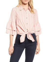 Ella Moss - Pink Convertible Tie Front Top - Lyst