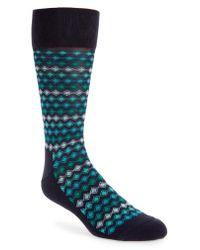 Nordstrom - Blue Striped Diamond Grid Socks for Men - Lyst