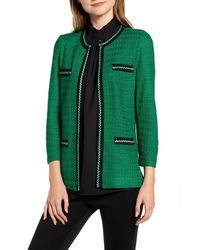 Ming Wang Green Braided Trim Jacquard Jacket