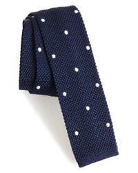 Eleventy Blue Dotted Skinny Knit Silk Tie for men