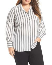 Vince Camuto - White Stripe Puff Sleeve Blouse - Lyst