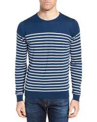John Smedley - Blue Stripe Sweater for Men - Lyst