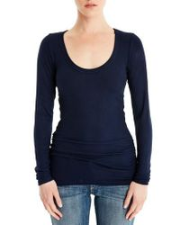 Michael Stars - Blue Shirred Long Sleeve Tee - Lyst