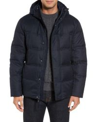 Marc New York | Blue Houndstooth Quilted Down Jacket for Men | Lyst