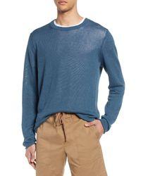 Vince Blue Crewneck Linen Sweater for men