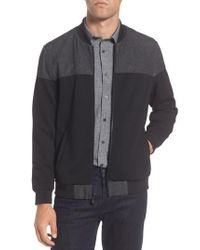 Vince Camuto - Black Mixed Media Bomber Jacket for Men - Lyst