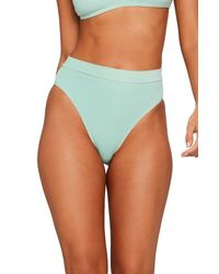 L*Space Green French Cut High Waist Textured Swim Bottoms