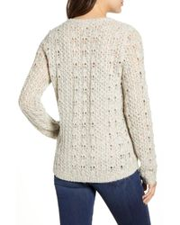 Caslon White Caslon Brushed V-neck Sweater