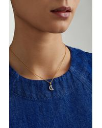 Monica Vinader Metallic Alphabet Moon Diamond Pendant Charm