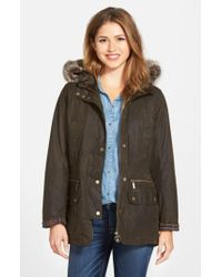 Barbour | Gray 'Kelsall' Faux Fur & Faux Shearling Trim Waxed Cotton Parka | Lyst