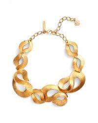 Oscar de la Renta - Metallic Twisted Ribbon Collar Necklace - Lyst
