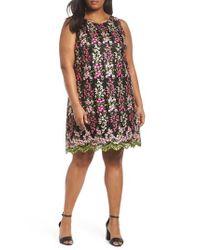 Tahari Black Embroidered Floral Shift Dress