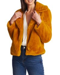 1.STATE Orange Faux Mink Wide Collar Jacket