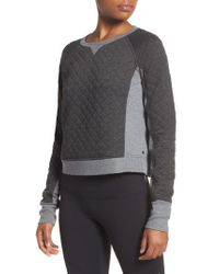 Zella - Gray Bella Quilted Crop Pullover - Lyst