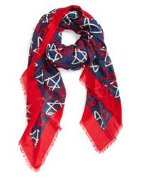 Gucci - Red Ghost Stars Modal & Silk Scarf for Men - Lyst