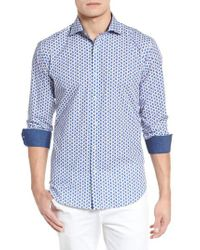 Bugatchi Blue Peaked Paisley Shaped Fit Sport Shirt for men