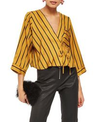 TOPSHOP - Multicolor Stripe Tie Wrap Kimono Top - Lyst