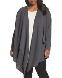 Eileen Fisher - Gray Angle Front Cardigan - Lyst