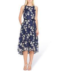 Tahari Blue Floral Embroidered Dress