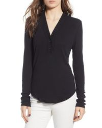 James Perse - Blue Ribbed Henley - Lyst