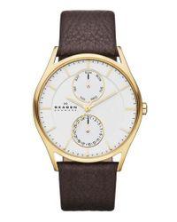 Skagen - Metallic 'holst' Multifunction Leather Strap Watch - Lyst