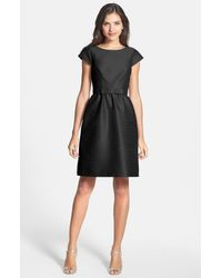 Alfred Sung Black Woven Fit & Flare Dress