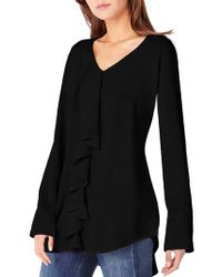 Michael Stars - Black V-neck Ruffle Tunic - Lyst