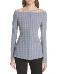 Theory - Blue Mcclair Plaid Off The Shoulder Jacket - Lyst